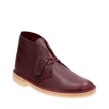 Clarks Desert Boot In Burgundy Tumbled Leather