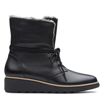 Clarks Sharon Pearl - Black Leather - Womens 9