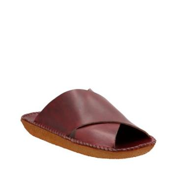 Clarks Litton Sandal. In Burgundy Leather
