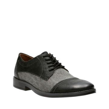 Clarks Garren Cap In Black Combi Leather