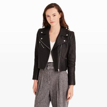 Club Monaco Collection Color Black Zaskia Leather Jacket