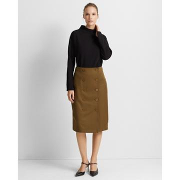 Club Monaco Dark Olive Button-front Pencil Skirt