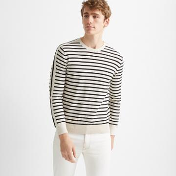 Club Monaco Oatmeal/black Strapped Stripe Crew