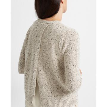 Club Monaco Cream Split-back Woven Sweater