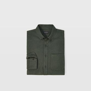 Club Monaco Color Green Slim Double-faced Twill Shirt