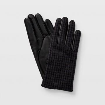 Club Monaco Grey Multi Claudia Check Leather Glove