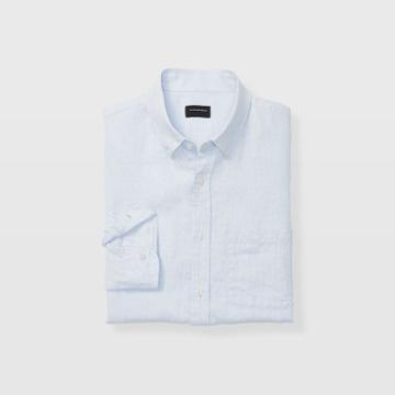 Club Monaco Color Blue Slim Linen Micro Check Shirt