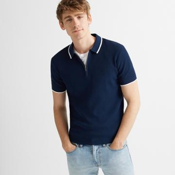 Club Monaco Blue/white Quarter-zip Ribbed Polo