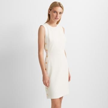 Club Monaco Ivory Button Sheath Dress