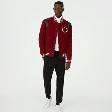 Club Monaco Color Purple Varsity Patch Jacket