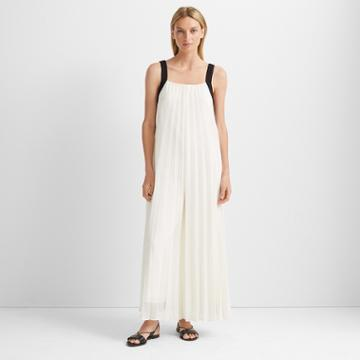 Club Monaco White Mu Pleated Jumpsuit