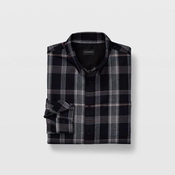 Club Monaco Eclipse/porter Blue/multi Slim Tonal Plaid Shirt