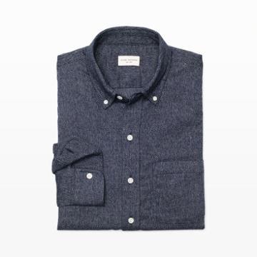 Club Monaco Color Blue Slim Brushed Jaspe Shirt