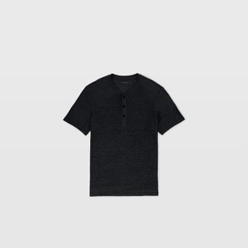 Club Monaco Color Black Short-sleeve Linen Henley