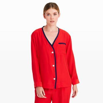 Sleepy Jones Color Red Sleepy Jones Silk Cardigan