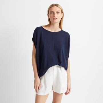 Club Monaco Navy Cashmere Shell Sweater