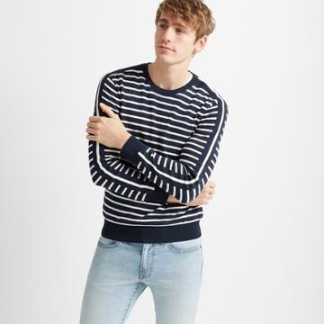 Club Monaco Navy/white Strapped Stripe Crew