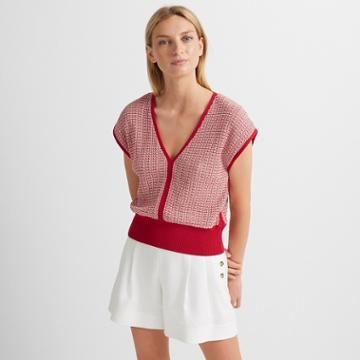 Club Monaco Pink Multi Short Sleeve V-neck Sweater
