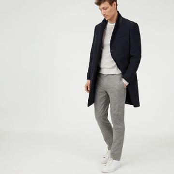 Club Monaco Color Blue Wool Twill Topcoat