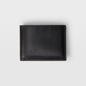 Club Monaco Black Cm Leather Bifold Wallet