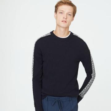 Club Monaco Color Blue Fair Isle Wool Sweater