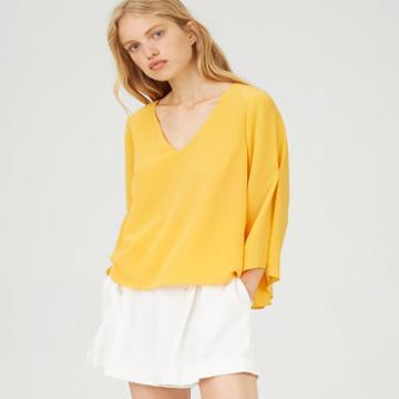 Club Monaco Color Yellow Orie Silk Top