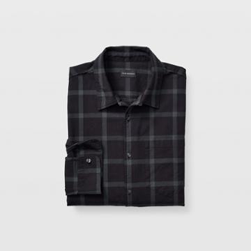 Club Monaco Black And Green Ombre Plaid Loop Collar Shirt
