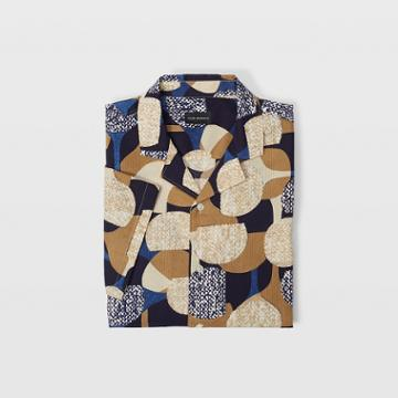 Club Monaco Tan Multi Slim Notched Collar Shirt