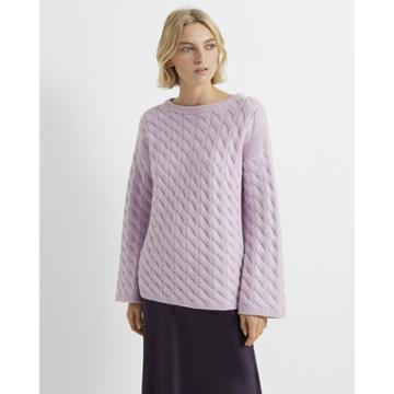 Club Monaco Purple Cable-knit Boatneck Sweater