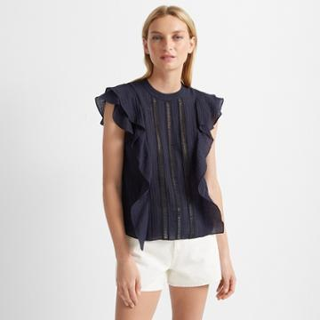 Club Monaco Eclipse Ruffle Front Top