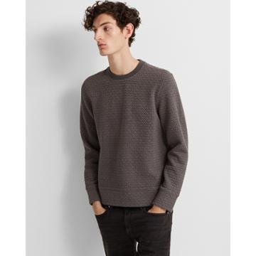 Club Monaco Charcoal Deco Quilt Sweatshirt