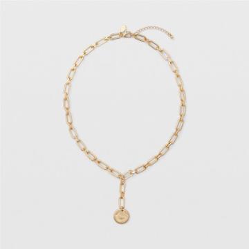 Club Monaco Gold Chunky Lariat Chain Necklace
