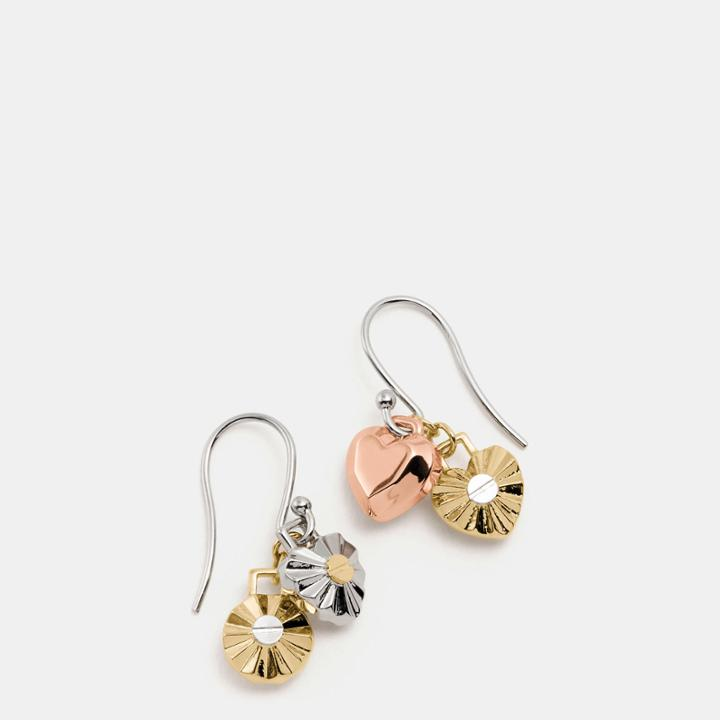 Coach Daisy Rivet Heart Locket Drop Earrings