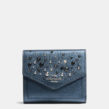 Coach Small Wallet In Metallic Leather With Star Rivets