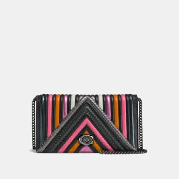 Coach Foldover Chain Clutch With Colorblock Quilting And Rivets
