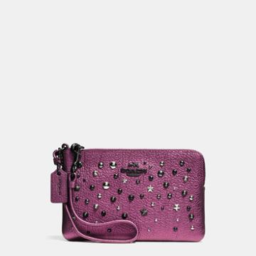 Coach Small Wristlet In Metallic Leather With Star Rivets