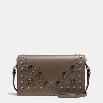 Coach Foldover Crossbody Clutch In Glovetanned Leather With Western Rivets