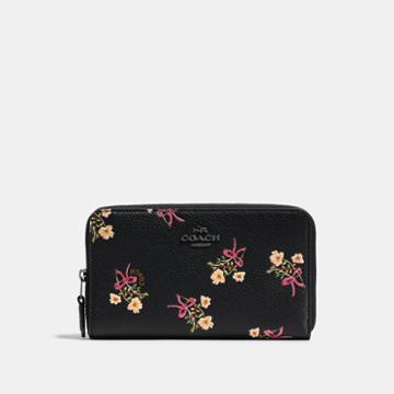 Coach Medium Zip Around Wallet With Floral Bow Print