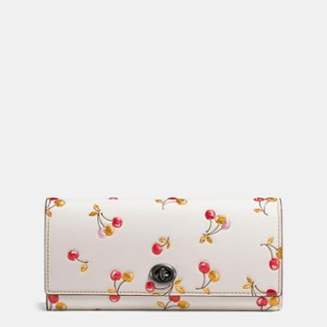 Coach Envelope Wallet In Glovetanned Leather With Cherry Print
