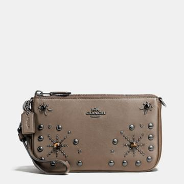Coach Nolita Wristlet 19 In Glovetanned Leather With Western Rivets
