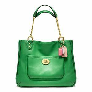Coach   Poppy Leather Medium Chain Tote B4 Kelly Green