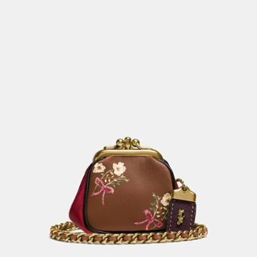 Coach Kisslock Pouch In Glovetanned Nappa Leather With Floral Bow Print