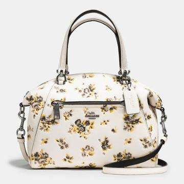 Coach Prairie Satchel In Floral Printed Polished Pebble Leather