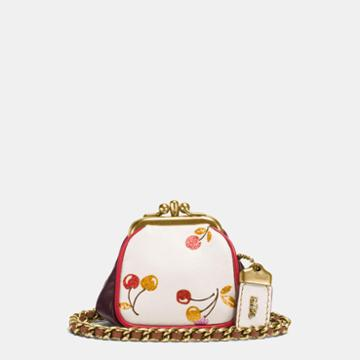 Coach Kisslock Pouch In Glovetanned Leather With Cherry Print