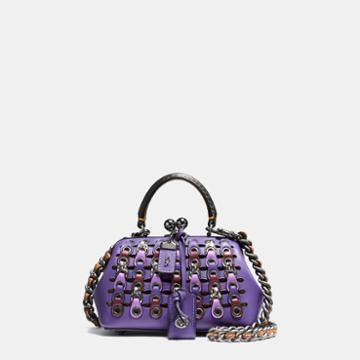 Coach Kisslock Satchel 19 In Glovetanned Leather With Exotic Link