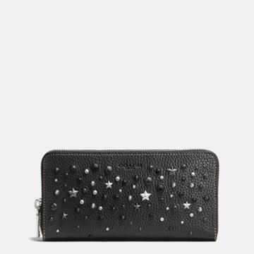 Coach Accordion Wallet In Pebble Leather With Mixed Studs