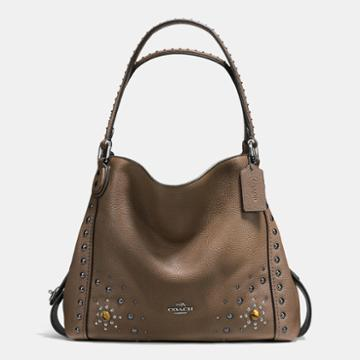 Coach Edie Shoulder Bag 31 In Polished Pebble Leather With Western Rivets