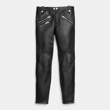 Coach Leather Biker Jeans