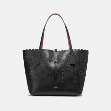 Coach Market Tote With Cut Out Tea Rose