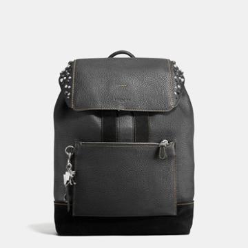 Coach Manhattan Backpack In Rebel Varsity Pebble Leather With Studs